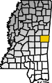 Map showing Kemper County location within the state of Mississippi